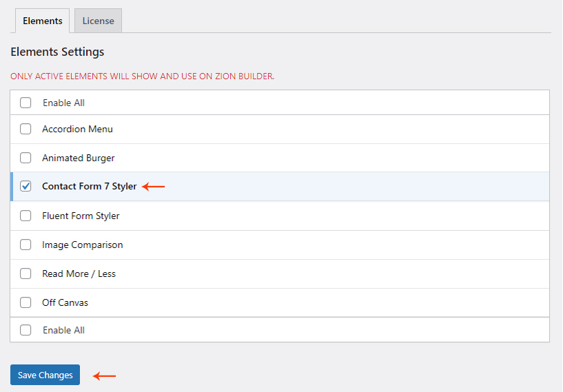 Activate Contact Form 7 Styler element
