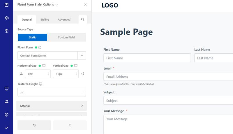 Fluent Form Settings & Builder Preview